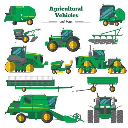 Pojazdów rolniczych Ikony Flat Ustaw ilustracji wektorowych.
