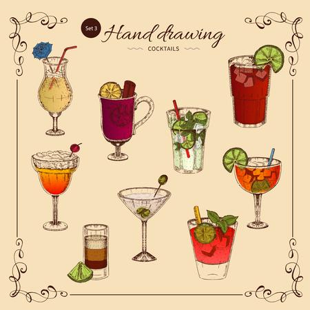 アルコール飲料色コレクション ベクター イラストです。