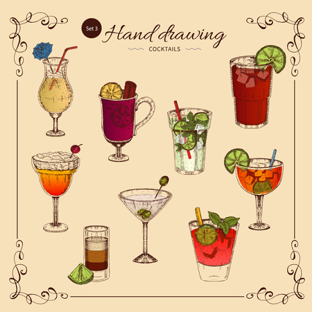 Alcoholic Drinks Colored Collection vector illustration. Illustration