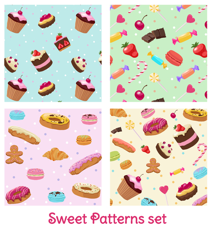 Colorful Pastry And Confectionery Patterns Set vector illustration.