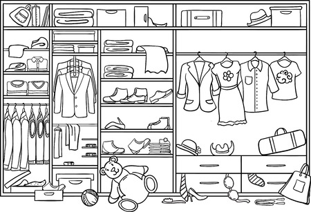 Doodle Family Wardrobe Mess Concept vectorillustratie. Stock Illustratie