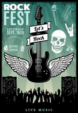 Vintage Rock Music Fest Template vector illustration.