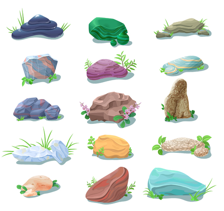 Cartoon Natural Stones And Boulders Collection vector illustration. 向量圖像