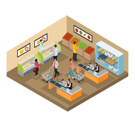 Isometric Grocery Shop Concept vector illustration. Vectores