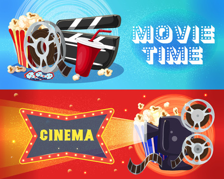 Bright Cinema Horizontal Banners vector illustration.