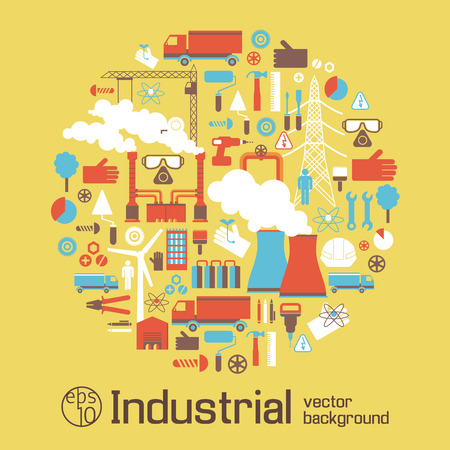 Industrial Poster With Elements Of Urban Landscape Illustration