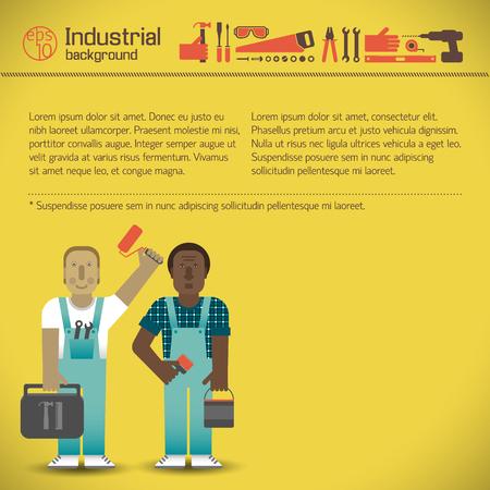 Industrial Workmen Yellow Background Ilustracja