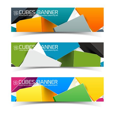 Bunte Würfel Banner Set Standard-Bild - 85185769
