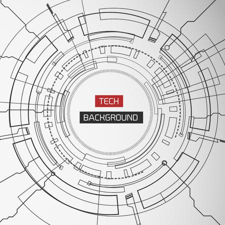 Monochrome Round Tech Background Stock Vector - 85185801
