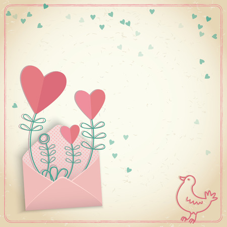 Romantic valentines day postcard in pastel colors with cute pattern doodle vector illustration Illustration