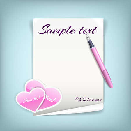 Black white sheet of paper with pink hearts for love letter with pen on blue background flat vector illustration