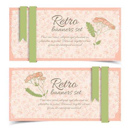 Retro Floral Horizontal Banners