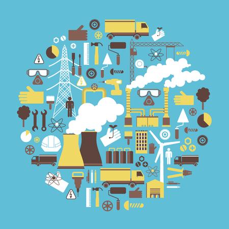 電力・ エネルギーの産業デザイン コンセプト  イラスト・ベクター素材