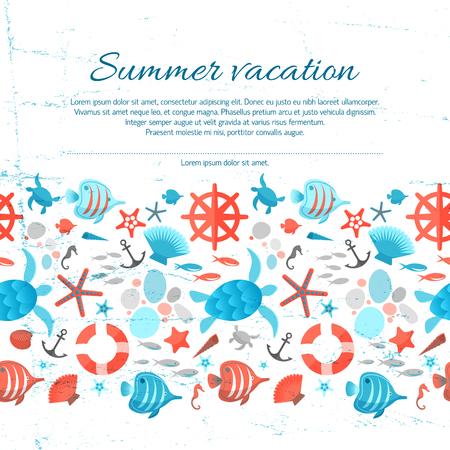 夏休みグランジ紙の背景  イラスト・ベクター素材