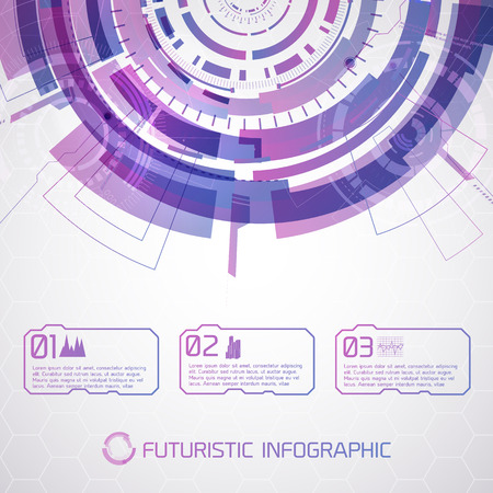 Purple Round Futuristic Infographic Stock Vector - 85387192