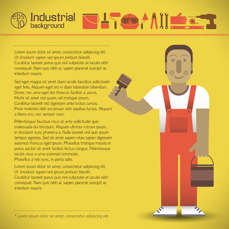 Workman And Tools Yellow Background