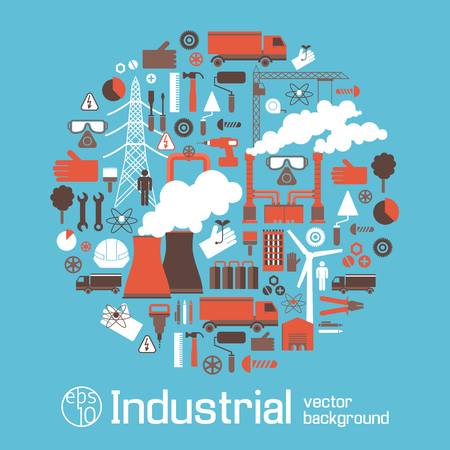 Electricity Industry Icons Round Set