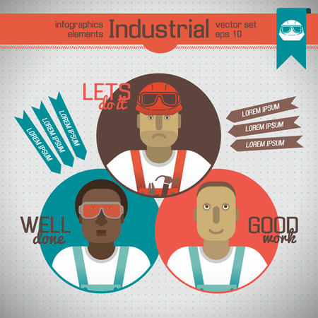 Industrial Workers Infographics Elements