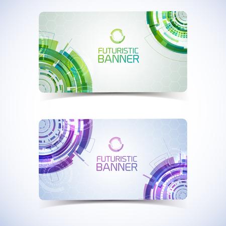 Futuristic Banners Cards Design Illustration