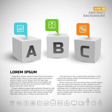 Cubi 3d e icone di business sfondo Archivio Fotografico - 85450709