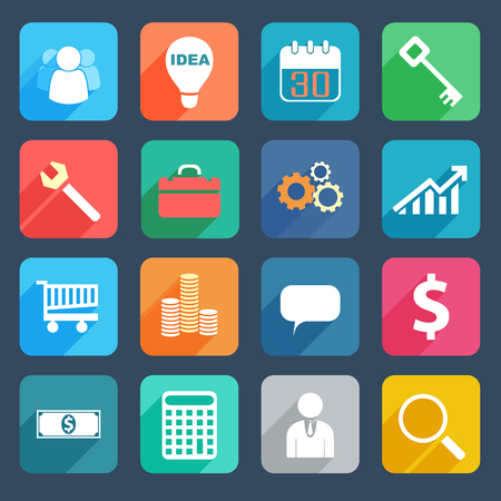 Colorful Business Icons Set