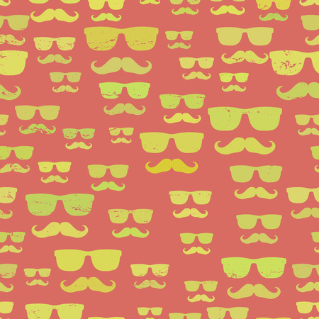 Hipster Mustache And Glasses Seamless Pattern