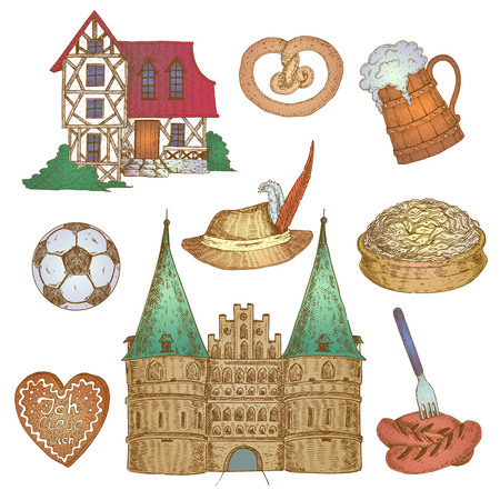 Nine isolated hand drawn germany decorative elements set with traditional house and castle fronts and food vector illustration Illustration