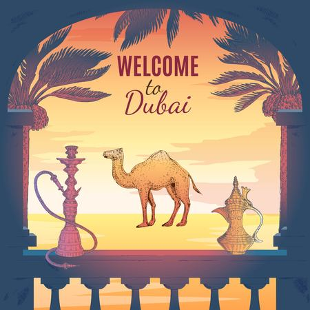 Hand drawn dubai square composition with terrace frame pitcher hookah palms skyscraper icon and decorative text vector illustration Illustration