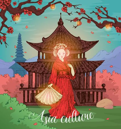 Asian culture hand drawn design with girl in red kimono on background of cult building vector illustration