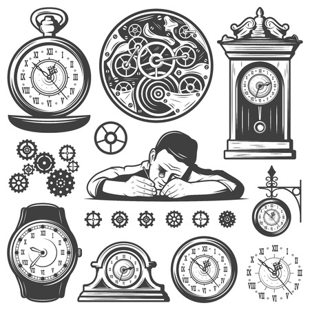 Vintage Monochrome Clocks Repair Elements Set 矢量图像