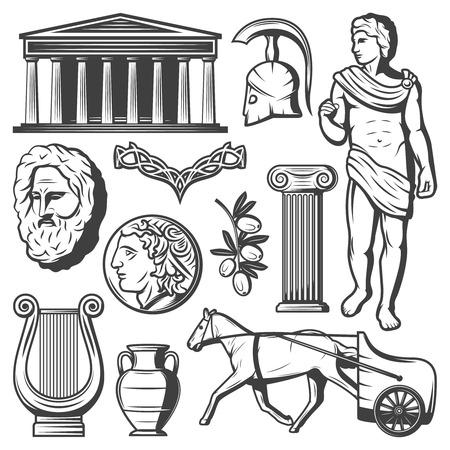 빈티지 고대 그리스 요소 세트 일러스트