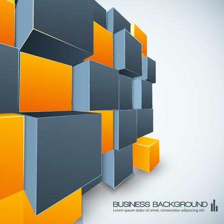 オレンジとグレーのキューブを使ったポスターデザイン  イラスト・ベクター素材
