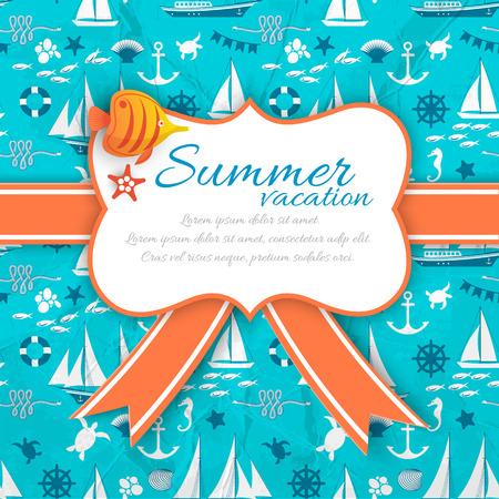 Summer Vacation Banner On Blue Nautical Background
