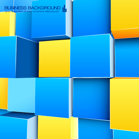 Bright Background With Blue And Yellow Cubes Иллюстрация