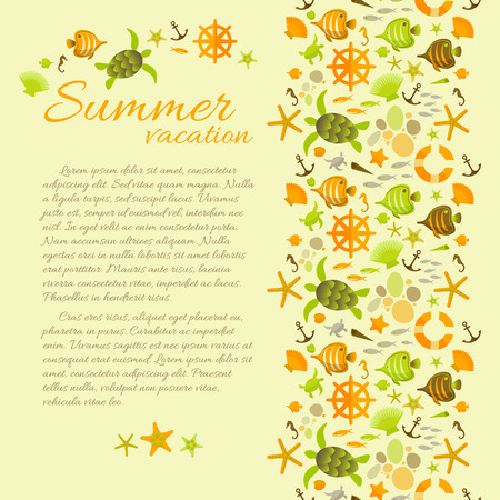 Summer Background With Text Framed By Sea Symbols Illustration