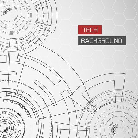 Futuristic Circles Tech Background Ilustrace