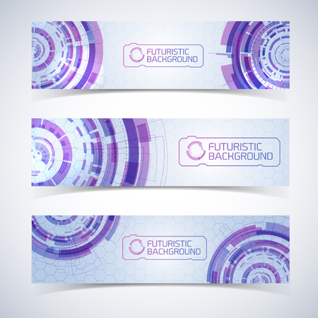 Futuristic Horizontal Banners Set Illustration
