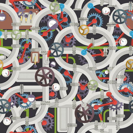 Industrial Mechanical Seamless Pattern Illustration