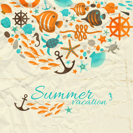 Summer Vacation Design Composition Ilustrace