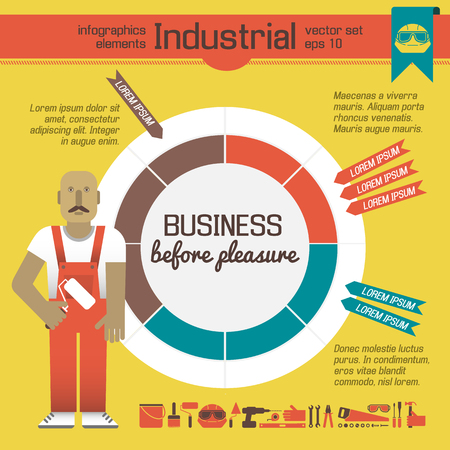 Worker Of Factory Infographics Elements Ilustracja