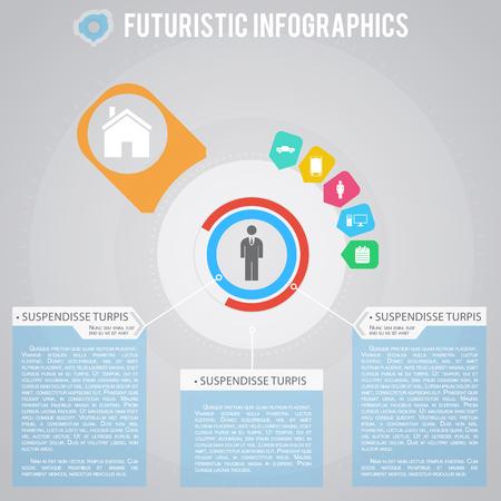 Everyday Life Of Businessman Futuristic Infographics Illustration