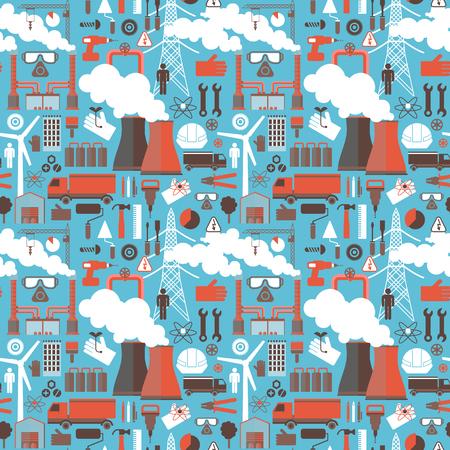 喫煙煙突と産業シームレスパターン青の背景に色付きのアイコンをトラックの風車作業ツールと付属品フラットベクトルイラスト
