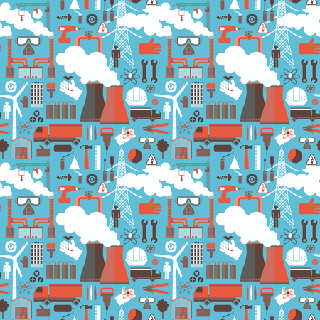 Industrial seamless pattern with smoking  chimneys trucks windmills working tools and accessories colored icons on blue background flat vector illustration Illustration