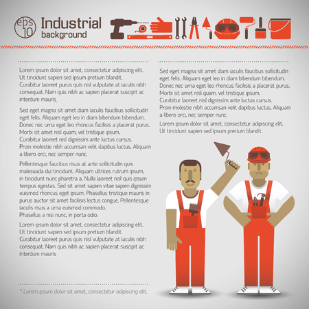 Industrial workers in red uniform and set of instruments icons on light background vector illustration Illustration