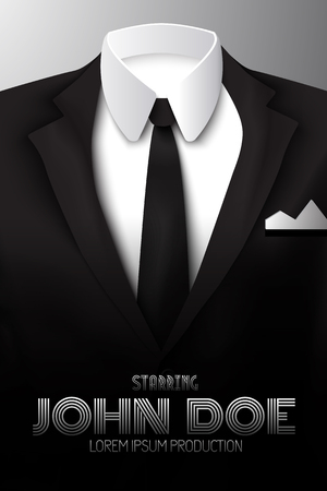 Man suit promotional poster. Illustration