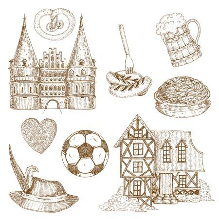 pretzel: Germany Drawn Symbols Set