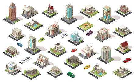 Collection d'éléments de ville isométrique avec bâtiments de vie et municipaux maisons de banlieue aire de jeux isolée transport illustration. Vecteurs