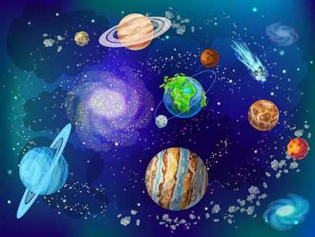 Antecedentes del espacio científico de dibujos animados Foto de archivo - 85720830