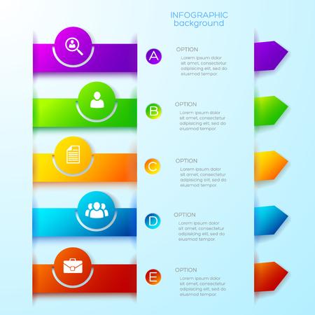 ライトビジネスインフォグラフィックテンプレート  イラスト・ベクター素材