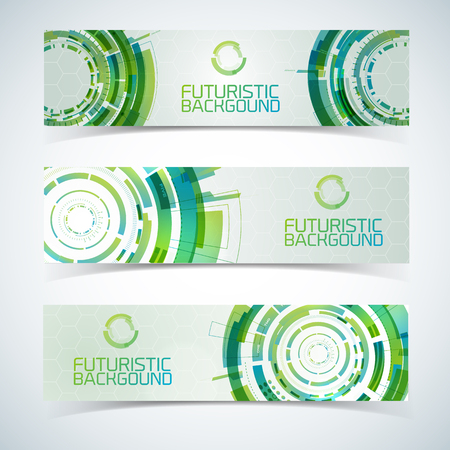 Interactive Circles Banners Set Illustration